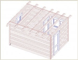Односкатная плоская банная крыша