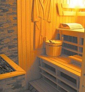 Комбинация стройматериалов в бане