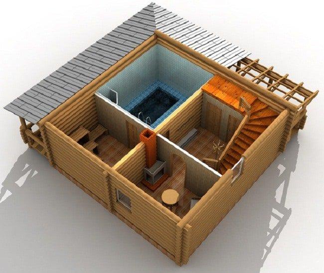 3Д модель бани на первом этаже