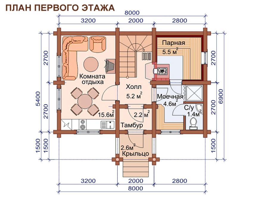 Планировка дома с баней на первом этаже
